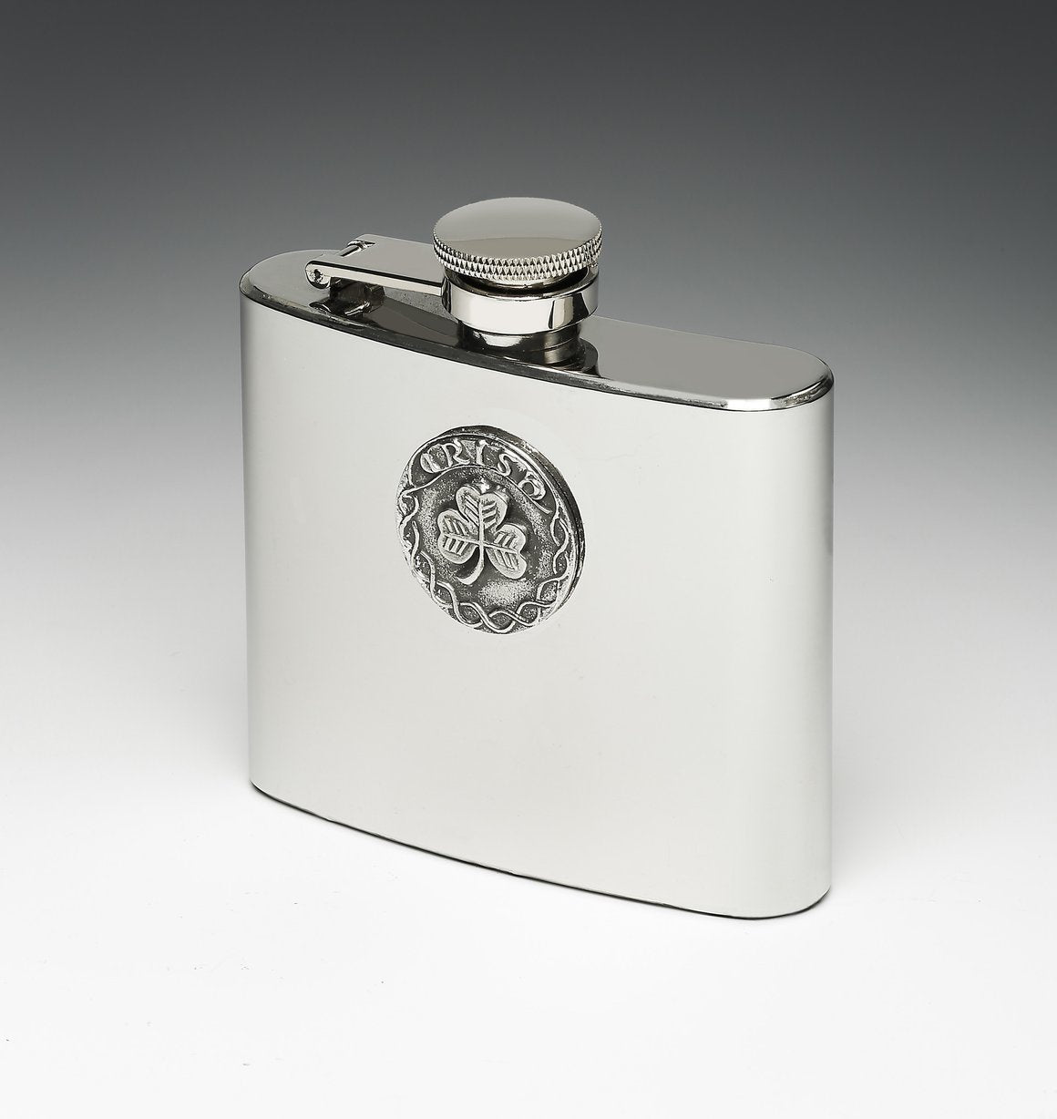 Whiskey Hip Flask with Shamrock/Irish Design by Mullingar Pewter
