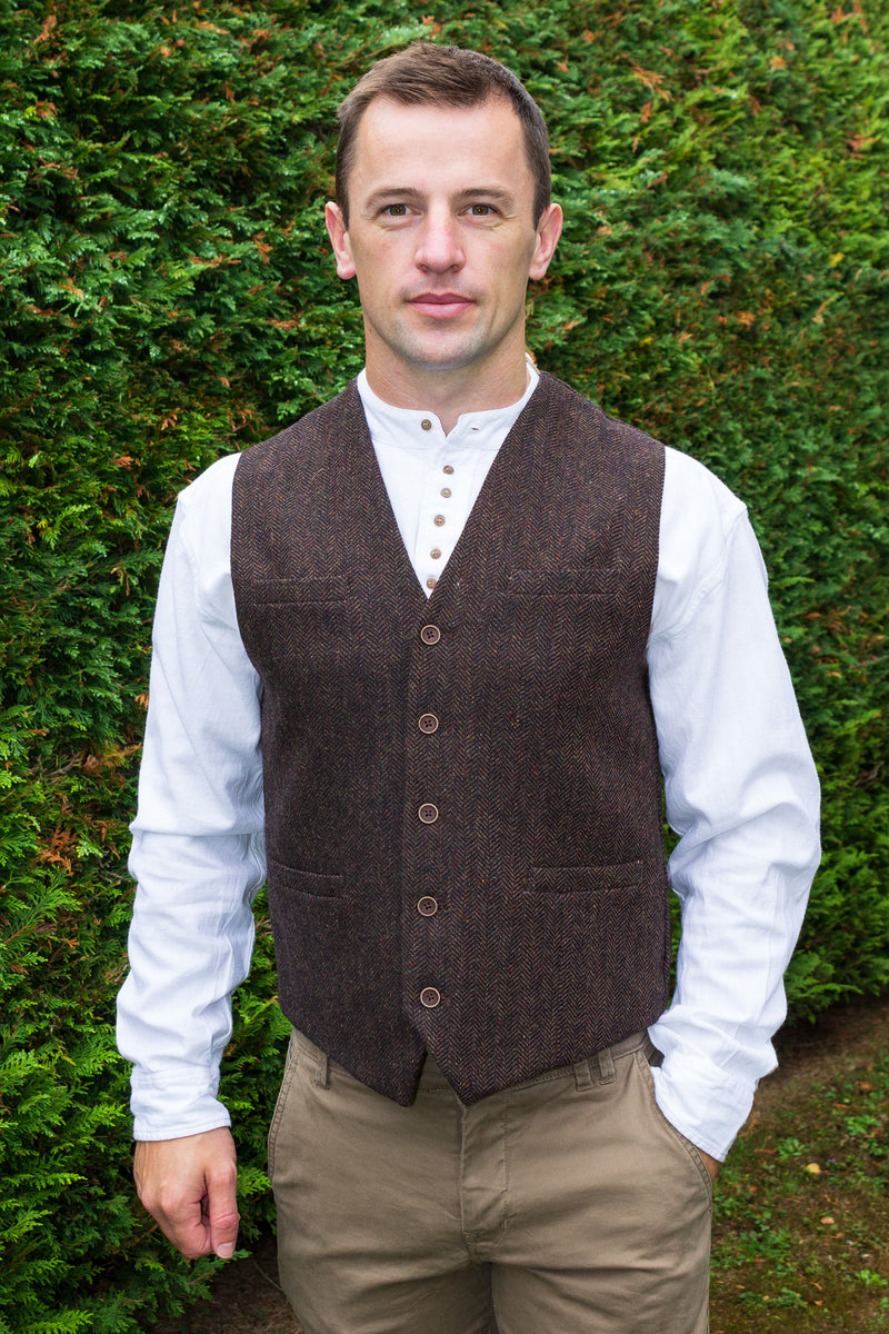 Mens Tweed Waistcoat - Brown Tweed