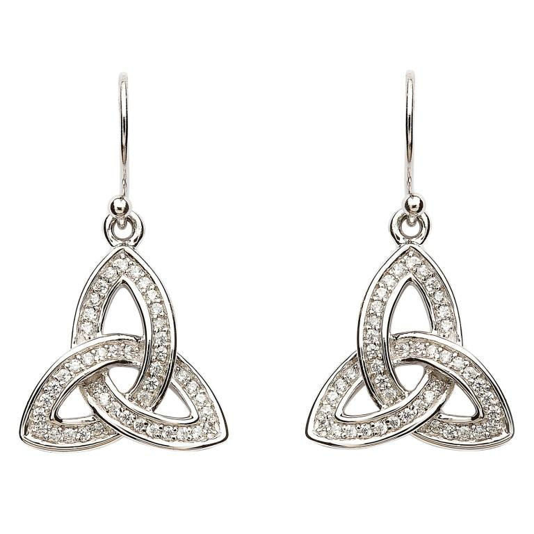 SE2081CZ Silver Stone Set Celtic Trinity Knot Earrings by Shanore