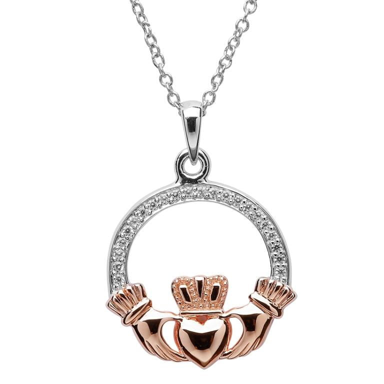 SP2082 Claddagh Stone Set Silver Rose Gold Plated Necklace by Shanore
