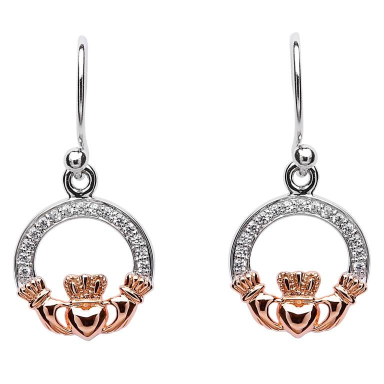 SE2083 Claddagh Stone Set Silver Rose Gold Plated Earrings by Shanore