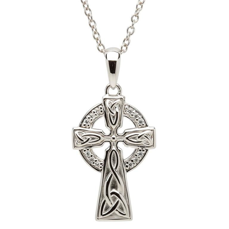 SF31 Celtic Stone Set Trinity Knot Silver Cross by Shanore