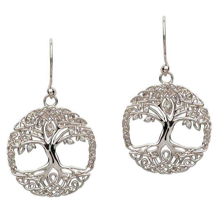SE2103CZ Tree Of Life Silver Earrings by Shanore
