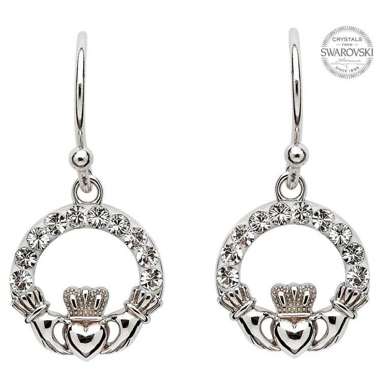 Claddagh Earrings with Swarovski Crystals by Shanore