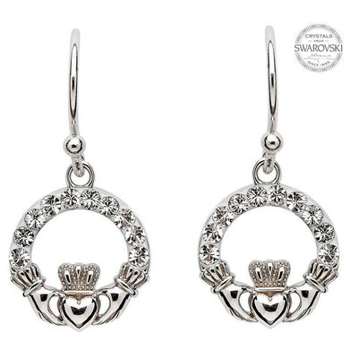 SW2 Claddagh Earrings with Swarovski Crystals by Shanore