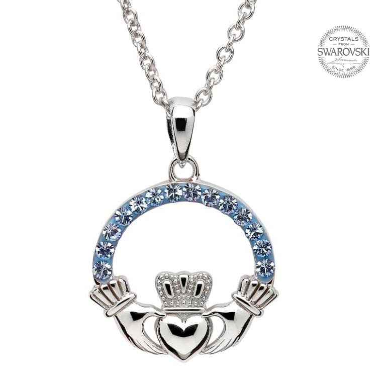 SW4 Light Sapphire Claddagh Necklace Embellished with Swarovski Crystals by Shanore
