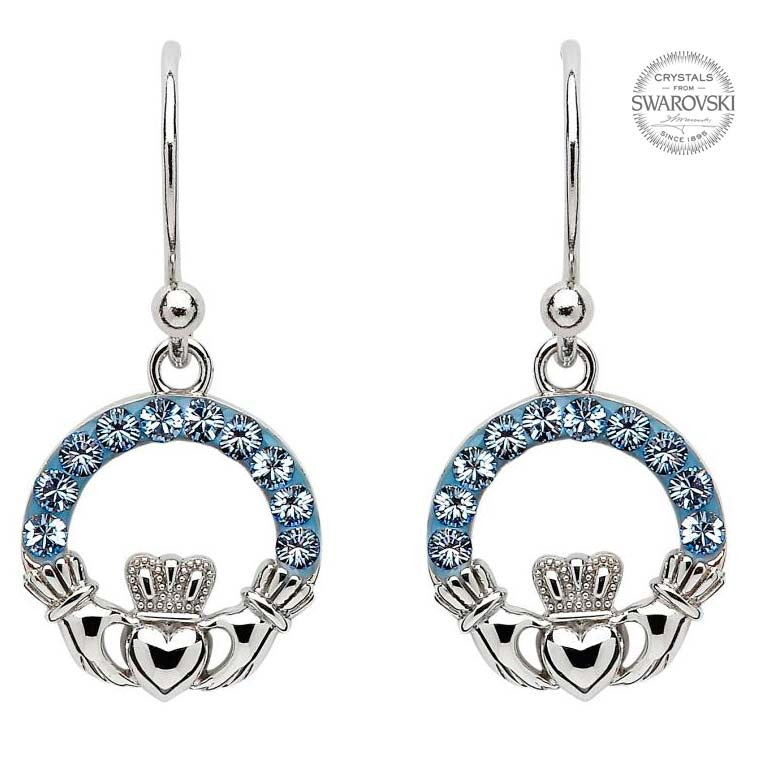 SW5 Light Saphire Claddagh Earrings Embellished with Swarovski Crystals by Shanore