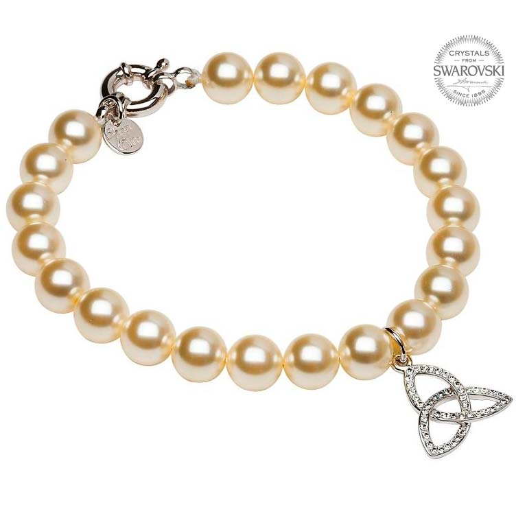 SW8 Trinity Pearl Bracelet Adorned With Swarovski Crystals by Shanore