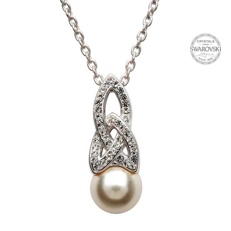 SW24  Celtic Pearl Necklace Adorned By Swarovski Crystals by Shanore
