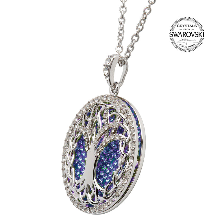 SW38 Tree Of Life Necklace Adorned By Tanzanite Swarovski Crystals by Shanore