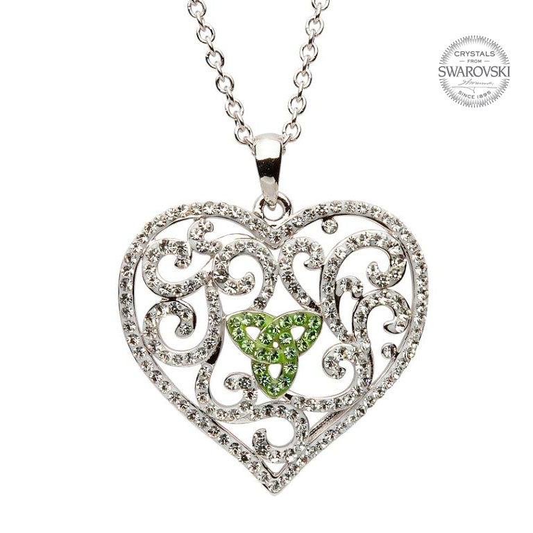 SW55 Heart Necklace Encrusted With Peridot And White Swarovski Crystals