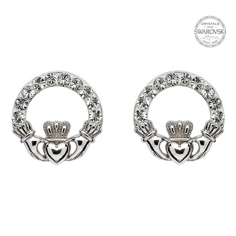 Claddagh Stud Earrings with Swarovski Crystals by Shanore