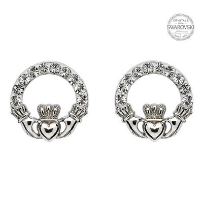 SW47 Claddagh Stud Earrings with Swarovski Crystals by Shanore