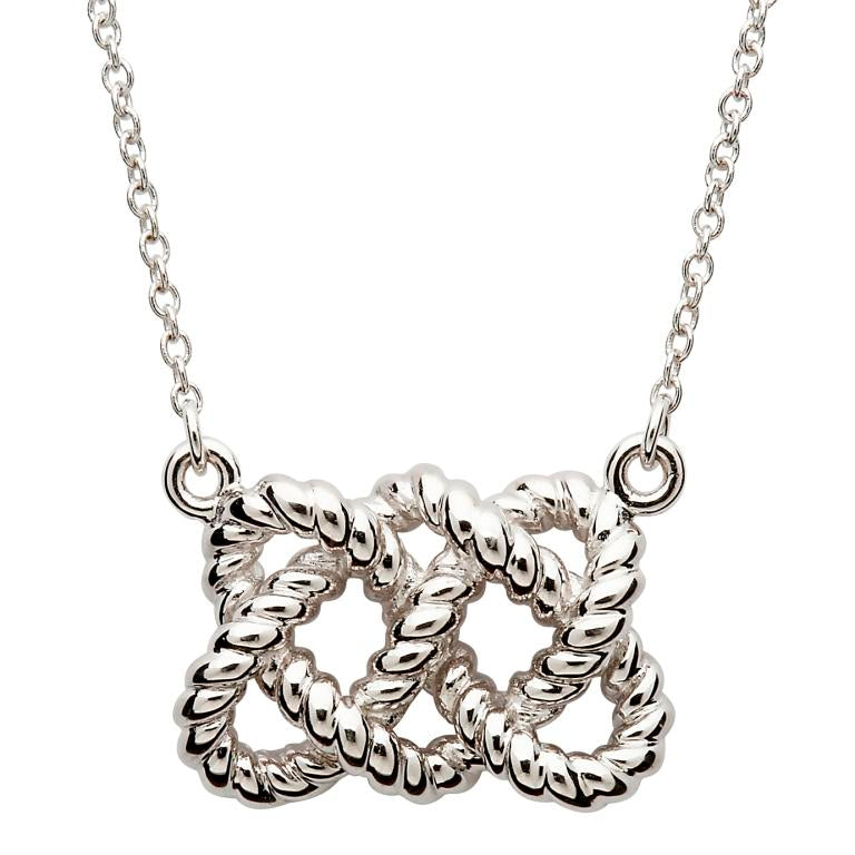 SP2104 Sterling Silver Fisherman's Knot Necklace by Shanore