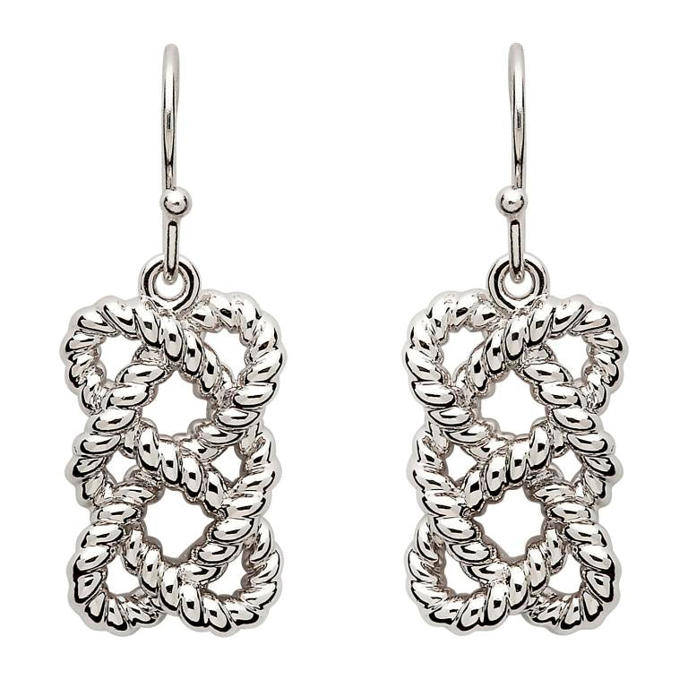 SE2105 Sterling Silver Fisherman's Knot Earrings by Shanore