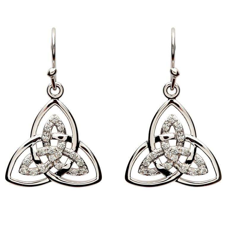 SE2113CZ Stone Set Trinity Knot Earrings by Shanore