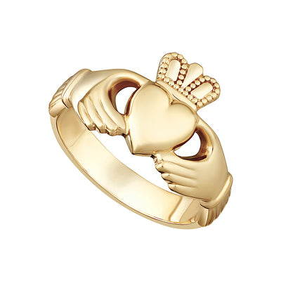 9K Gold Heavy Gents Claddagh Ring - S2268