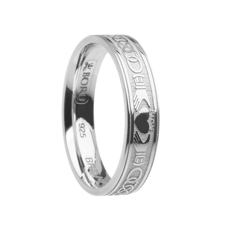 Claddagh & Celtic Knot Etched Ring - Narrow Comfort Fit Band - Boru