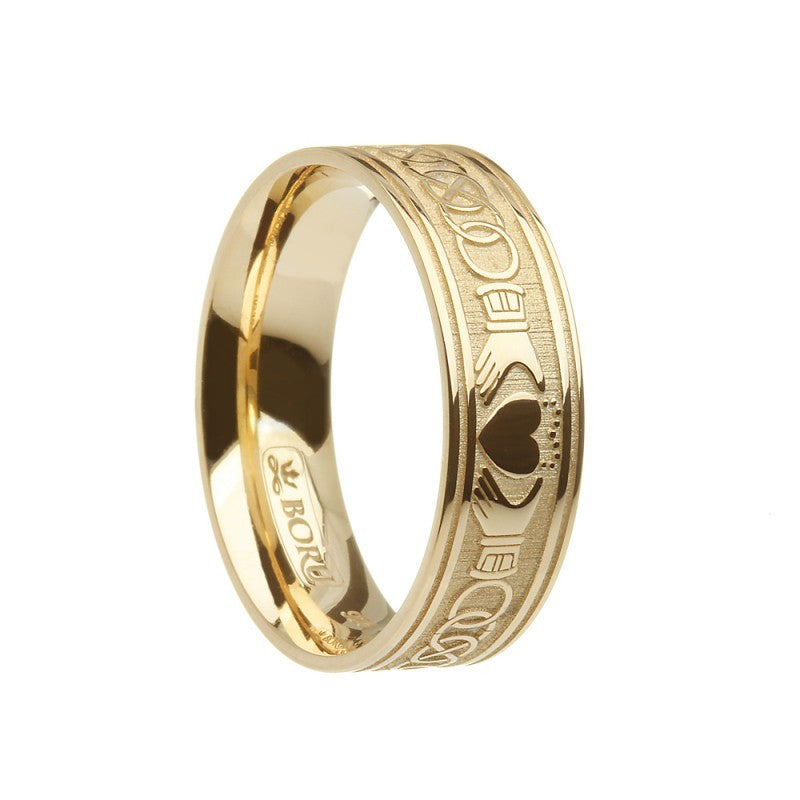 Claddagh & Celtic Knot Etched Ring - Wide Comfort Fit Band - Boru