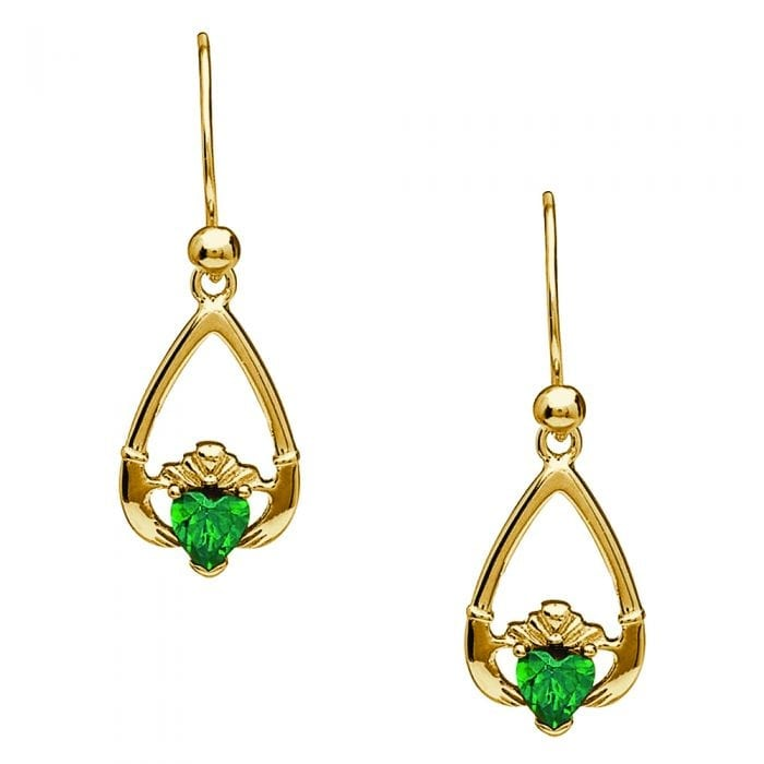 10K Yellow Gold May Claddagh Earrings – Green Cubic Zirconia