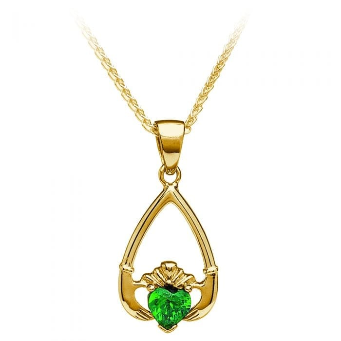 10K Yellow Gold May Claddagh Pendant – Green Cubic Zirconia