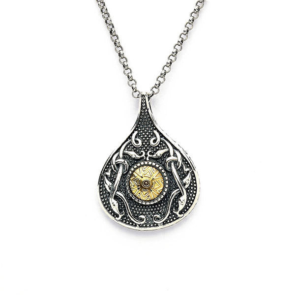 Wood Quay Teardrop Pendant with 18K Gold Beading