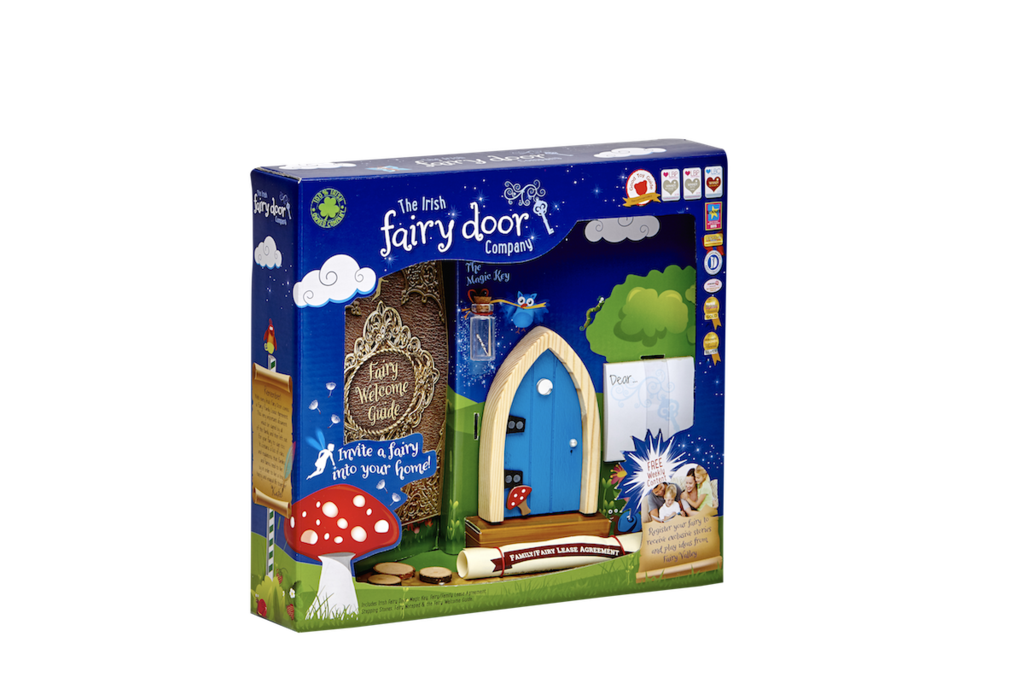 Irish Fairy Door - Blue Arch Wooden Door