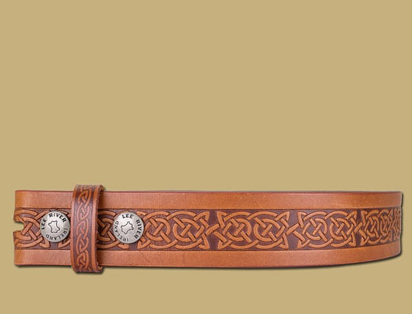 Book of Kells Knotwork Pattern Brown Leather Belt