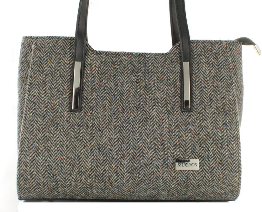 Ladies 'Brid' Plaid Handbag - Brown Fleck Herringbone