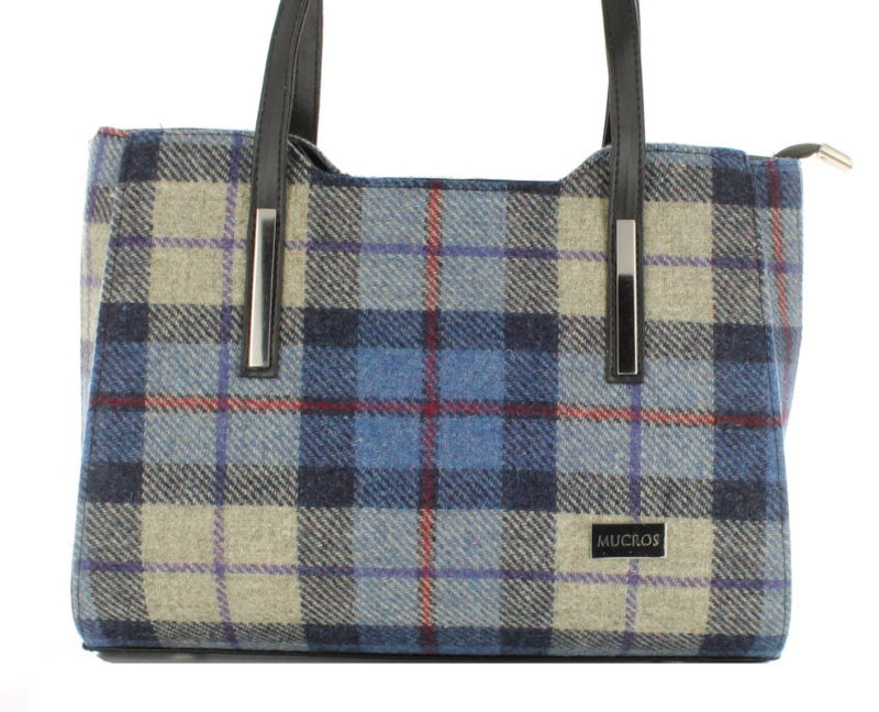 Ladies 'Brid' Plaid Handbag - Blue with Red Stripe