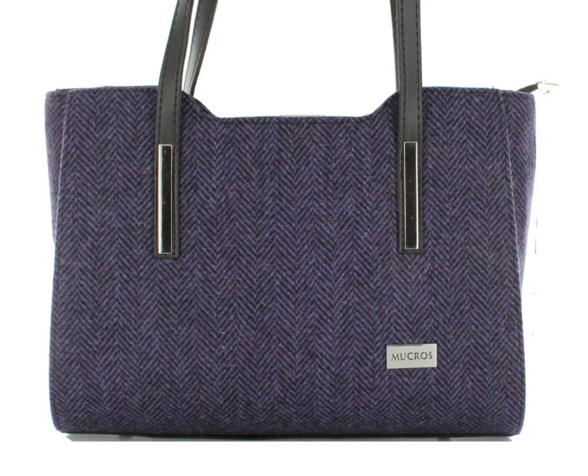 Ladies 'Brid' Plaid Handbag - Purple Herringbone