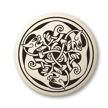 Celtic Cat Porcelain Pendant