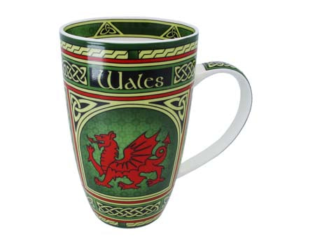 Celtic Window Welsh Dragon Bone China Mug