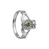 Womens Claddagh Ring With Emerald Heart