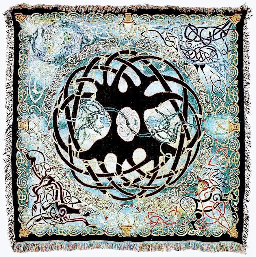 Irish Celtic Tree Of Life Tapestry Woven Throw Blanket With Fringe
