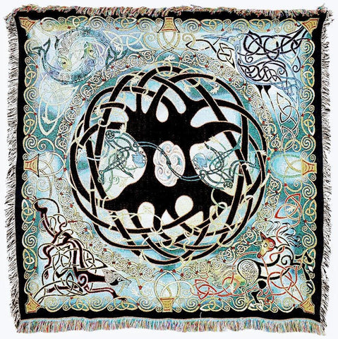 Irish Celtic Cross Throw Blanket With Fringe