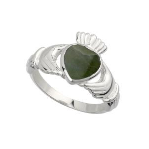 S21014 Connemara Marble Claddagh Ring for Ladies