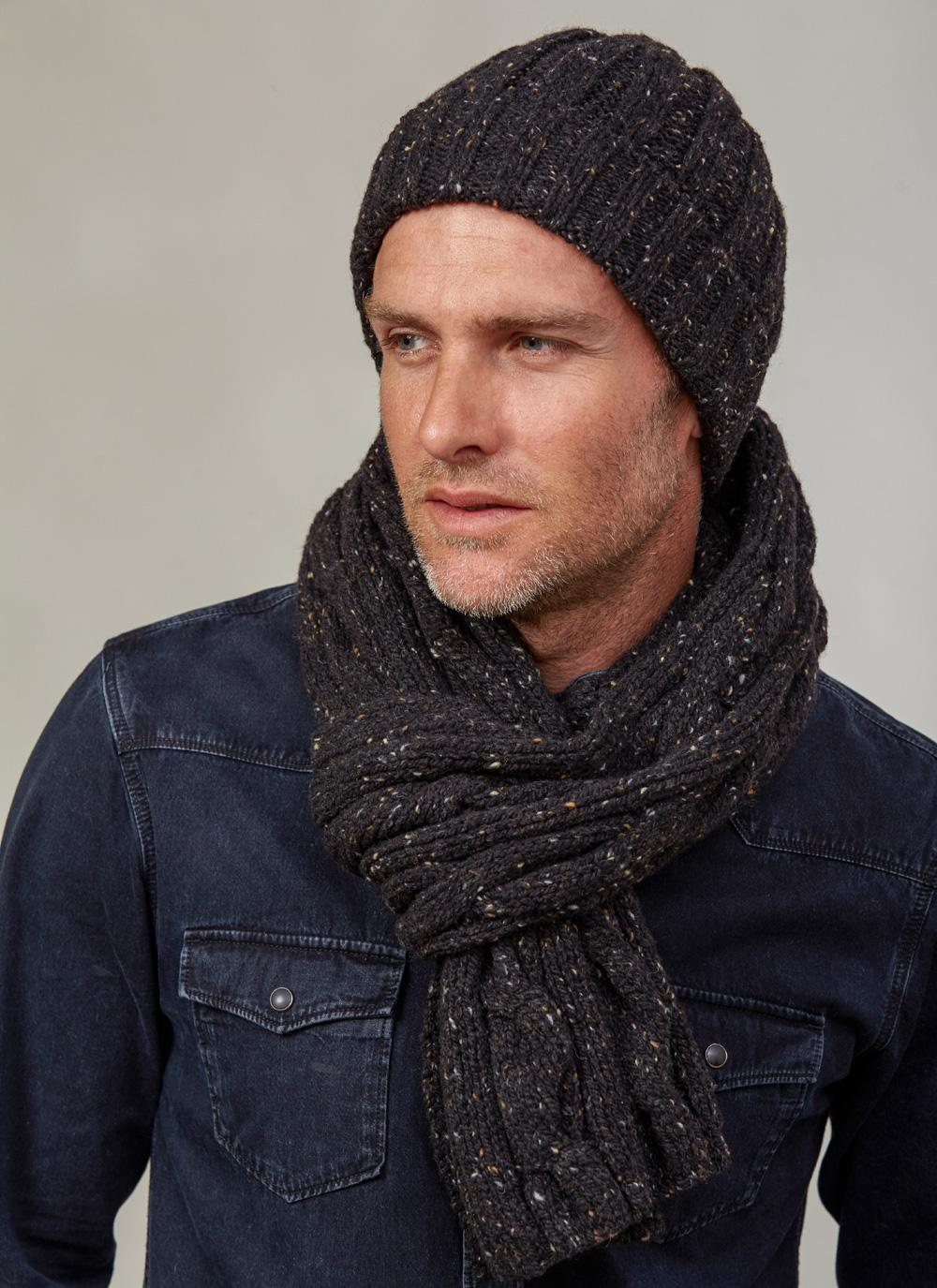 Fisherman 100% Merino Wool Mens Scarf and Beanie - Black Flecks