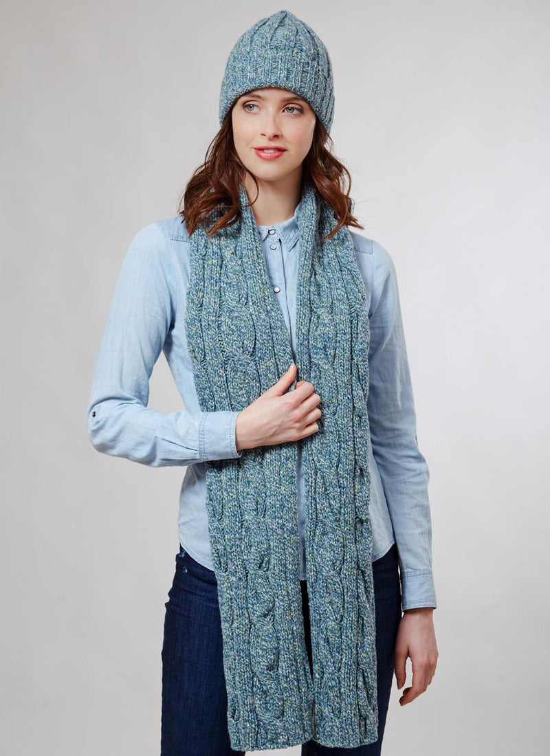 Womens Cable Knit Merino Wool Scarf & Beanie Set - Sea Green