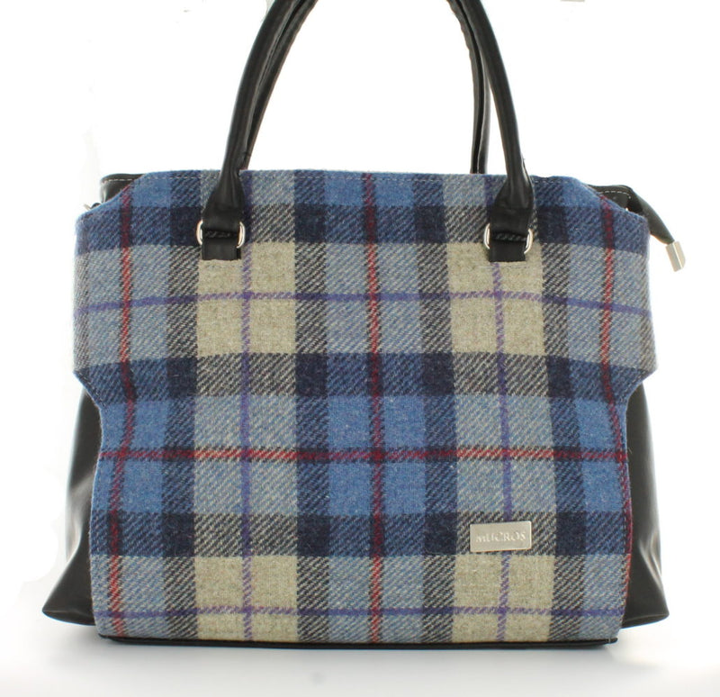 Ladies 'Emily' Plaid Shoulder Bag/Handbag - Blue Plaid with Red Stripe