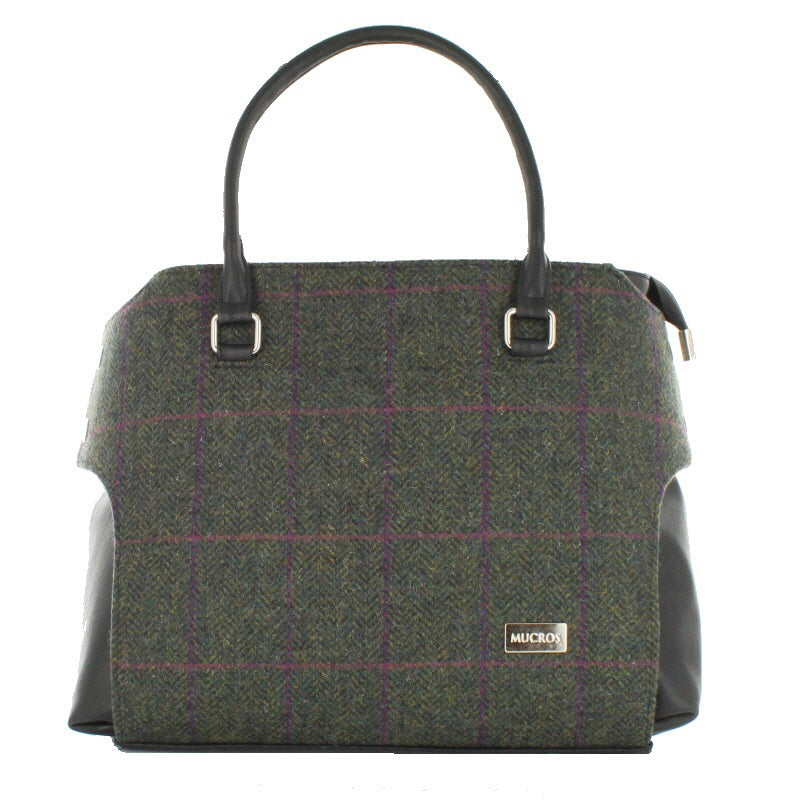 Ladies 'Emily' Plaid Shoulder Bag/Handbag - Green Plaid