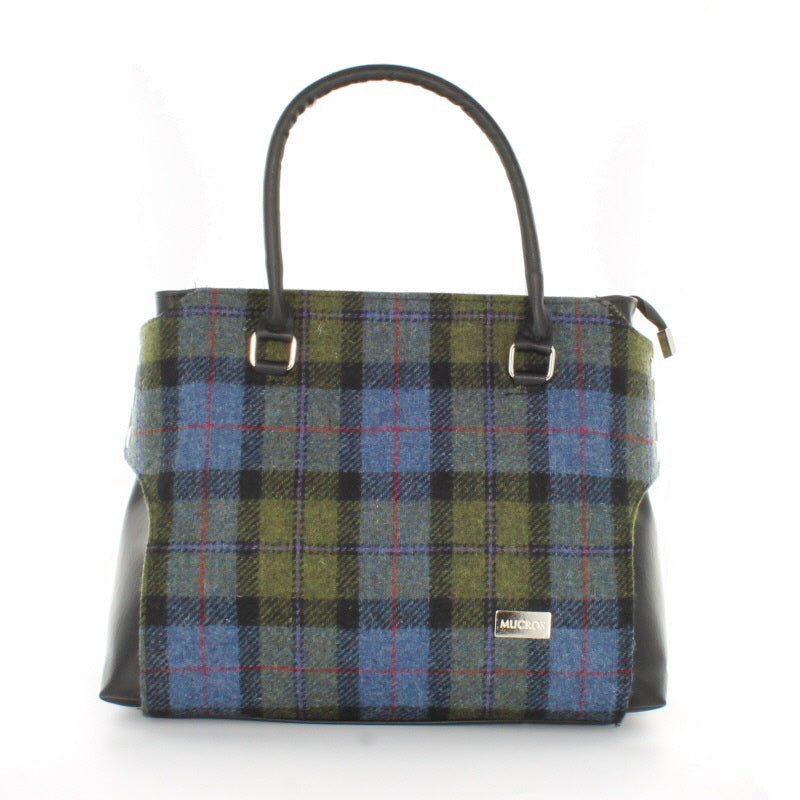 Ladies 'Emily' Plaid Shoulder Bag/Handbag - Green and Blue Plaid