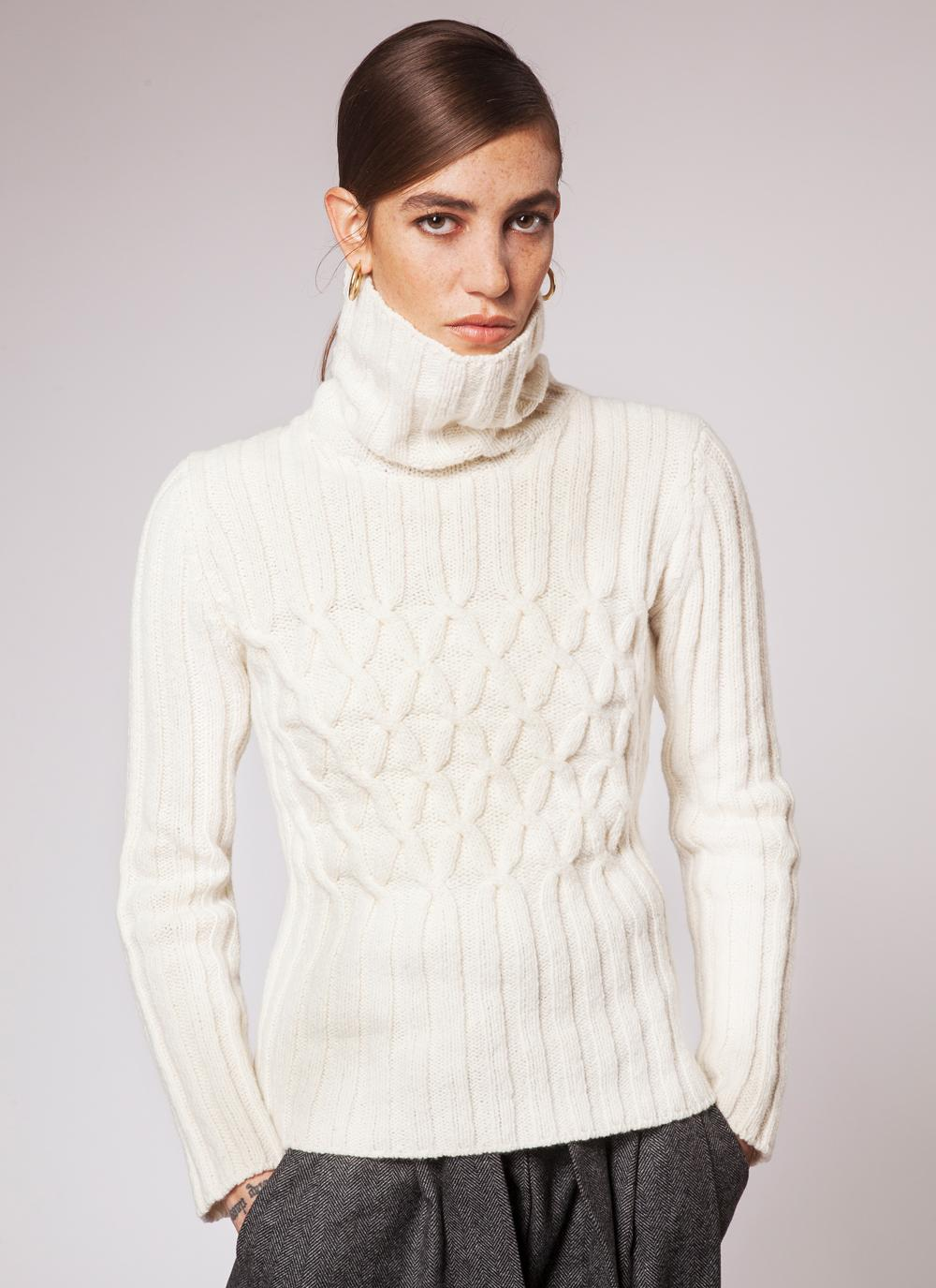 Fisherman Criss Cross Rib Polo Sweater