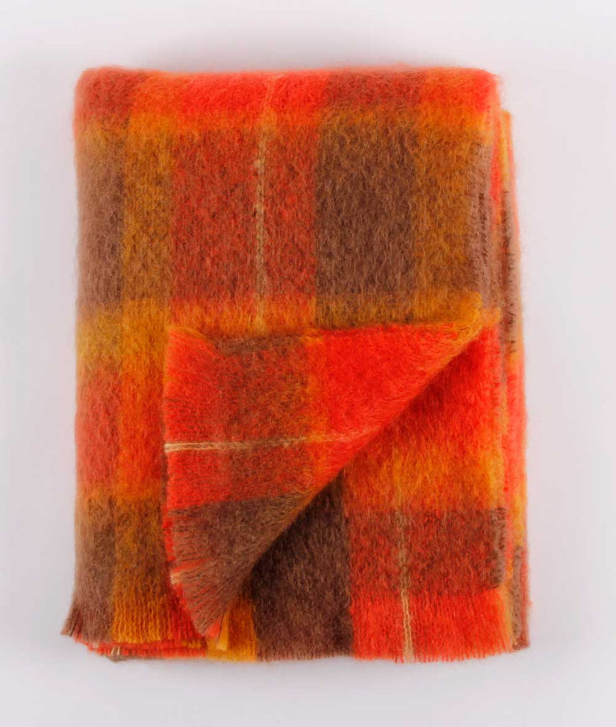 Brushed Mohair Throw - Flame
