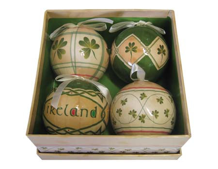 Set of 4 Shamrock Ornaments