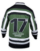 Back view of the Guinness green hockey jersey, long sleeve, mostly dark green, with some black and white also.