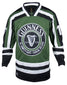 Front Image of the Guinness Green Hockey Jersey, Long sleeve, mostly dark green with some black and white stripes on the arms and sleeves, an embroidered harp on the chest in the center and the word Guinness above it and St. James Gate, Dublin below it.