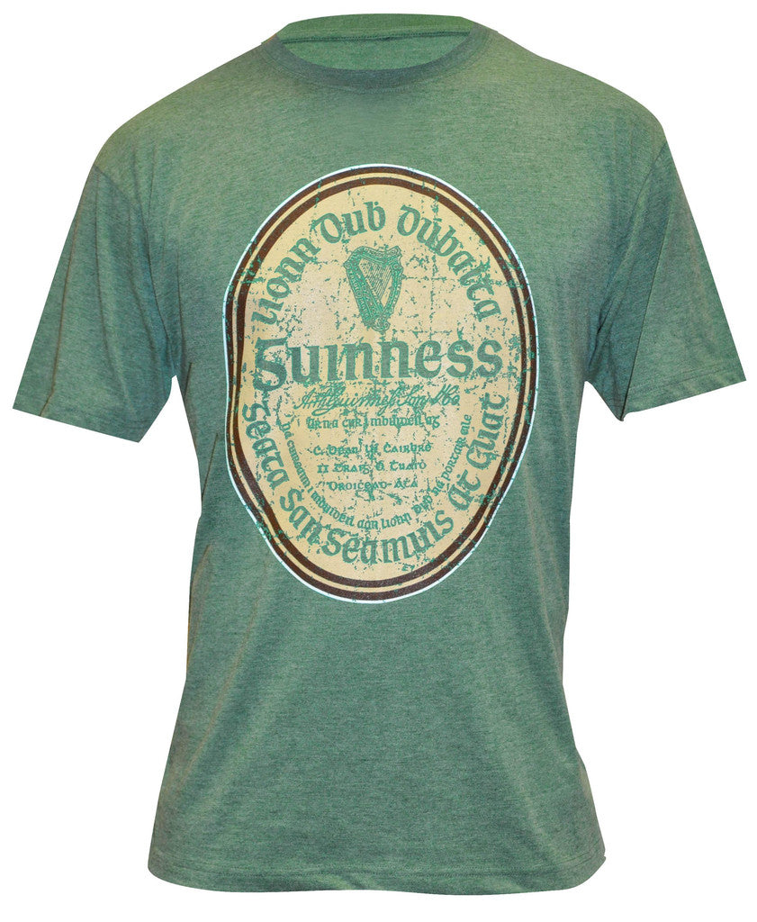 Guinness Green Distressed Gaelic Label T-Shirt