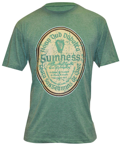 Black and Grey Guinness Distressed Label Tee - G6068