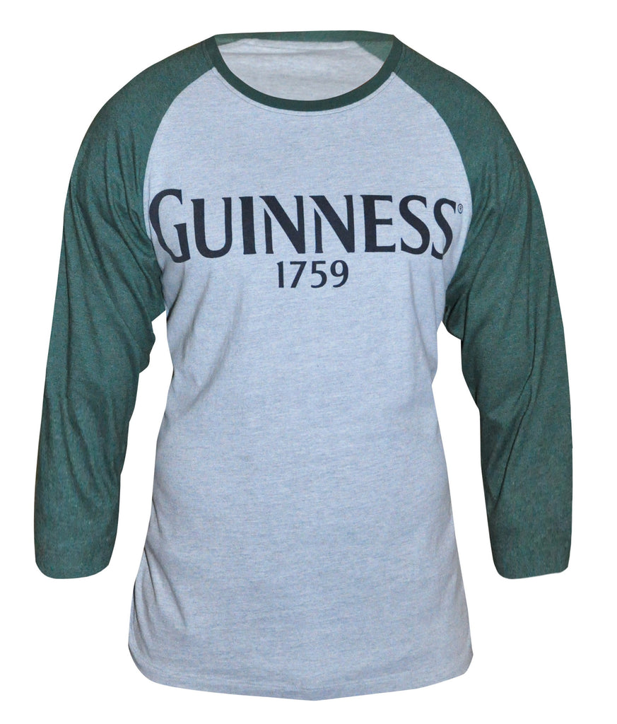 Green and Grey Long Sleeve Guinness Baseball Tee